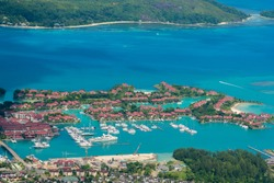Aerial view on Eden Island Marina in Victoria city, Seychelles. The Eden Island Marina is the home of hundreds of yachts, reaching from small boats to impressive big ships.