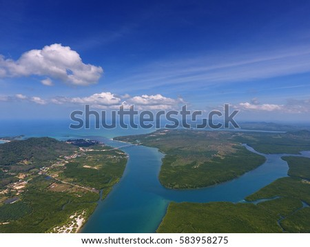 Aerial view on estuaries and strait on Koh Lanta island, Thailand\r