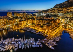 Aerial View on Fontvieille and Monaco Harbor with Luxury Yachts, French Riviera