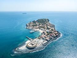 Aerial view on Goree Island in Dakar Senegal, slavery island by drone