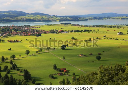 Aerial view on green fields and meadows in Germany.