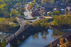Aerial view on Harpers Ferry historic town in autumn. Harpers Ferry National Historical Park in West Virginia, USA.