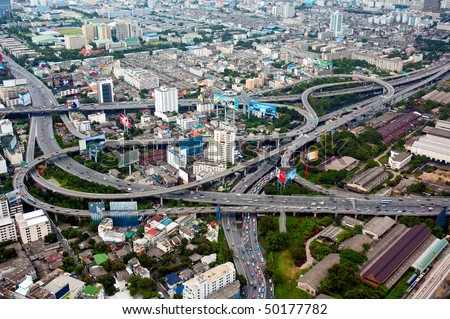 Aerial view on highway overpass in Bangkok, Thailand.