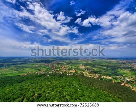 Aerial view on hill and Belgrade suburb, Serbia