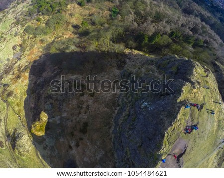 aerial view on hills and cliff cave hill in belfast northern ireland  #1054484621