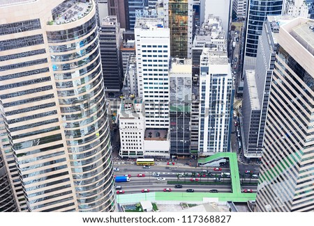 Aerial view on Hong Kong street