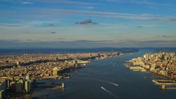 Aerial view on hudson river in New York City