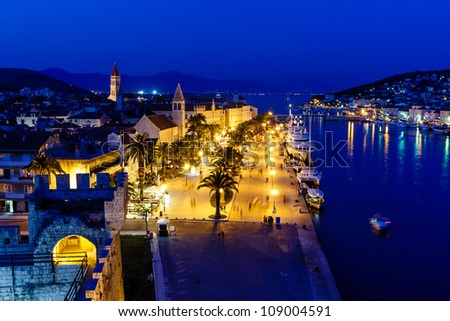Aerial View on Illuminated Ancient Trogir in the Night, Croatia
