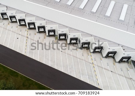Aerial view on loading bays in distribution center #709183924
