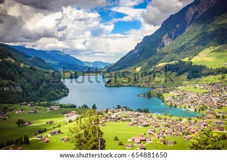 Aerial view on Lungernsee lake near Luzern, Switzerland, Europe