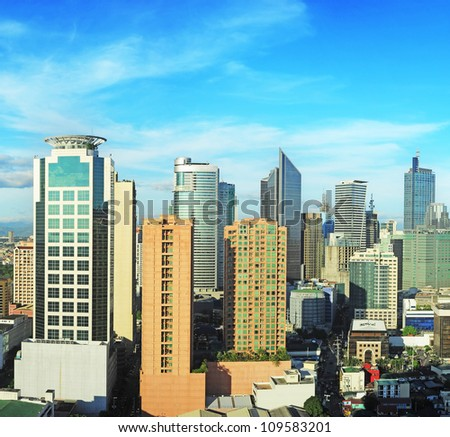 Aerial view on Makati city - modern financial and business district of Metro Manila, Philippines