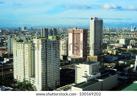 Aerial view on Makati - modern financial and business district of Metro Manila, Philippines #100569202