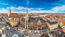Aerial view on Marienplatz town hall and Frauenkirche in Munich, Germany