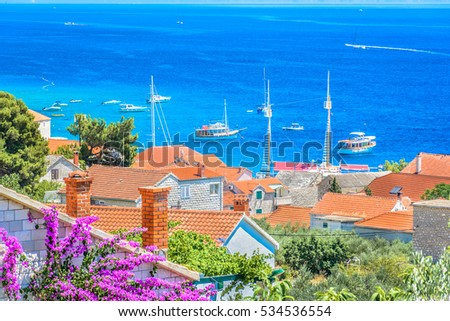 Aerial view on mediterranean town in Croatia, Island Brac, Bol scenic view. / Mediterranean town scenic view. / Selective focus.