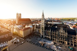 Aerial view on Munich old town hall or Marienplatz town hall and Frauenkirche in Munich, Germany