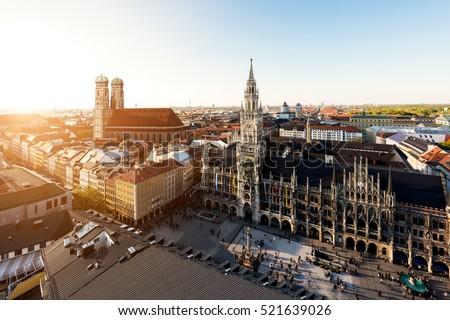 "stock photo aerial view on munich old town hall or marienplatz town hall and frauenkirche in munich germany 521639026 - Каталог - Фотообои ""Города"""