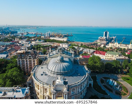 Aerial view on Odessa Opera and Ballet Theater #695257846