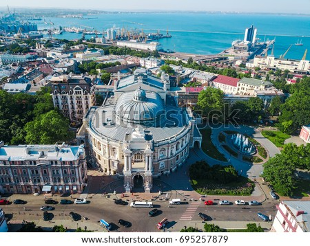 Aerial view on Odessa Opera and Ballet Theater #695257879