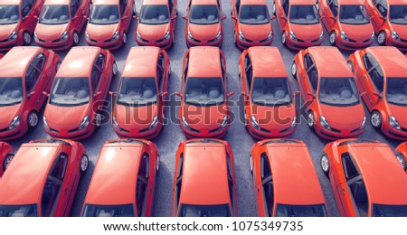 Aerial view on parked cars for sale on a lot 3D Rendering, 3D Illustration
