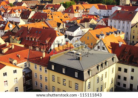 Aerial view on Regensburg, Germany. Regensburg city center is UNESCO World Heritage Site.