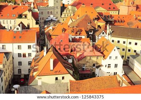 Aerial view on Regensburg, Germany. Regensburg city center is UNESCO World Heritage Site.