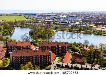 Aerial View on Roofs and Canals of Copenhagen, Denmark