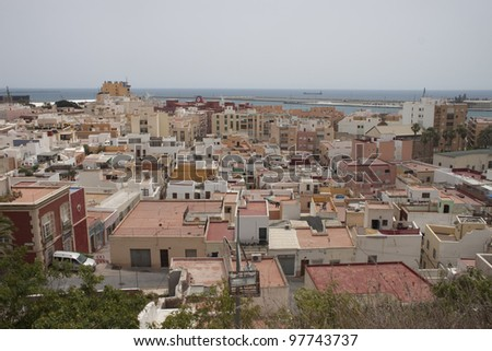 Aerial view on roofs of Almeria, Spain