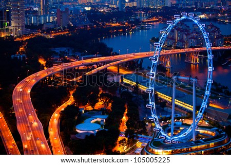 Aerial view on Singapore - stock photo