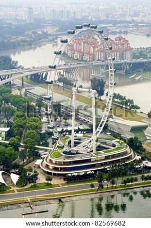 Aerial view on Singapore Flyer from Marina Bay Sands resort
