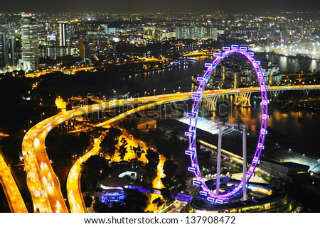 Aerial view on Singapore Flyer - the Largest Ferris Wheel in the World.