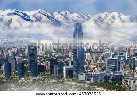 Shutterstock Aerial view on skyscrapers of Financial District of Santiago, capital of Chile under early morning fog