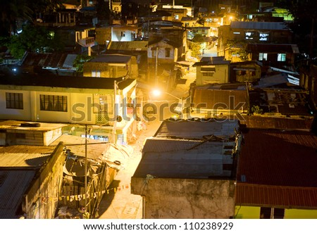 Aerial view on slums at night in Legaspi city, Philippines