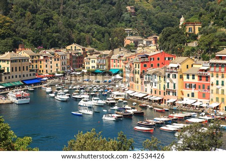 Aerial view on small harbour and Portofino - small town on Ligurian sea in northern Italy.