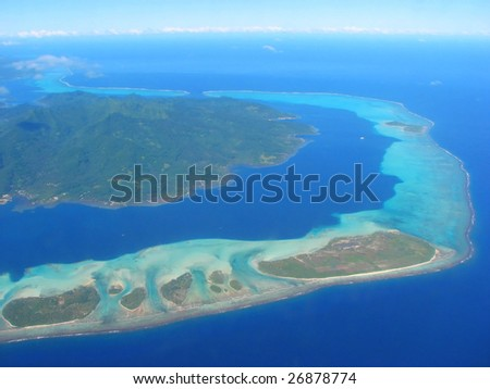 Aerial view on small islands, French Polynesia
