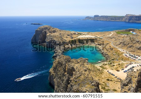 Aerial view on St. Paul's bay in Lindos (Rhodes island)