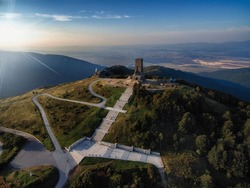 Aerial view on sunrise of Shipka Peak in Balkan Mountains, Bulgaria