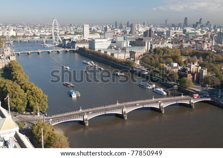 Aerial view on Thames River and  London Eye.