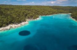 Aerial view on the beautiful bay on Rab island in Croatia. Turquoise color Adriatic sea of Dundo beach in Kampor, Rab Island