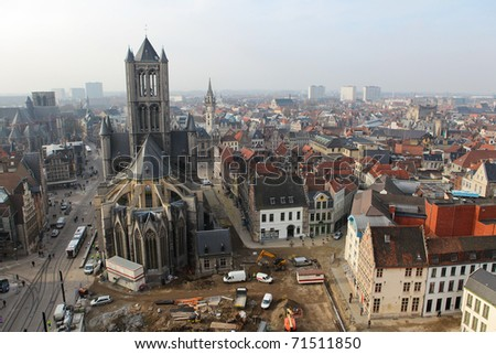 Aerial view on the center of Ghent, Flanders, Belgium, from the Belfry tower