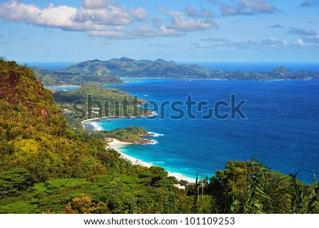 Aerial view on the coastline of the Seychelles Islands, Mahe