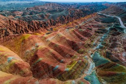 Aerial view on the colorful rainbow mountains of Zhangye danxia landform geological park in Gansu province, China, May 2017