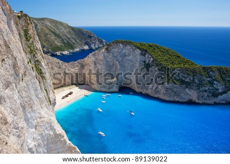 Aerial view on the most beautiful beach on Zakynthos island - Navagio with shipwreck (Greece, Ionian islands)