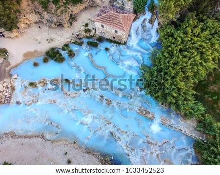 aerial view on the Natural thermal waterfalls at Saturnia