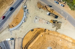 Aerial view on the new road construction site