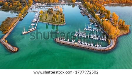 Aerial view on the port at lake Balaton Stock photo ©