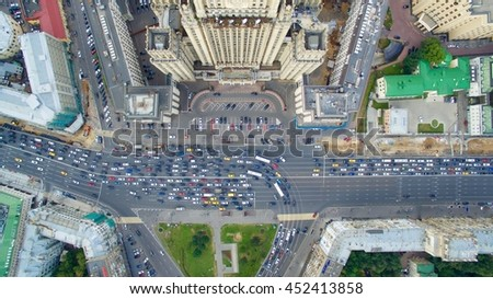Aerial view on the Russian Ministry of foreign affairs. 90 from the top view. Moscow traffic jams from the top. Arbat street.