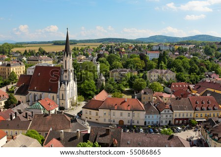 Aerial view on the town of Melk, in Lower Austria, from Stift Melk Monastery