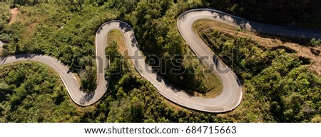 Aerial view on top of windy road