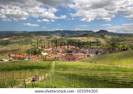 Aerial view on town of Barolo among hills and vineyards of Piedmont, Northern Italy.