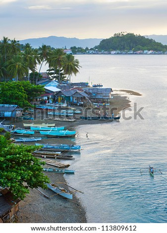 Aerial view on traditional Philippines fisherman village at sunset. Leyte Island